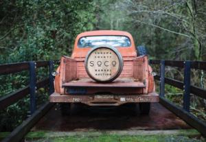 truck with wine barrel